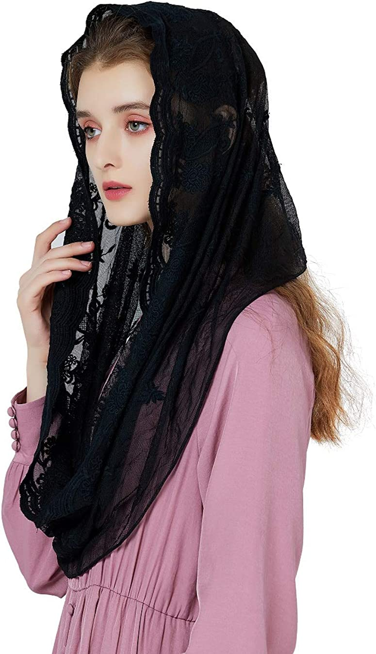 Catholic Chapel Veil Easter Mantilla Latin Mass Halloween Church Cathedral Head Covering Infinity Lace Scarf Off White Black