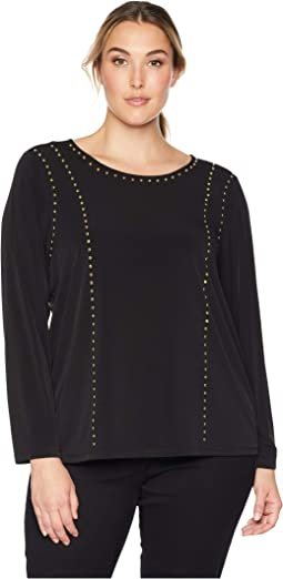 Plus Size Crew Neck w/ Stud Detail