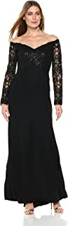 Best tadashi shoji sequin lace off the shoulder gown Reviews