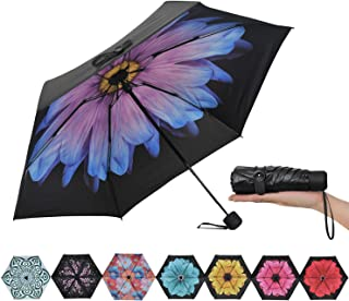Ke.movan Travel Compact Umbrella Mini Sun & Rain Umbrella Ultra Light for Carry On - Fits Men & Women, Gift Choice