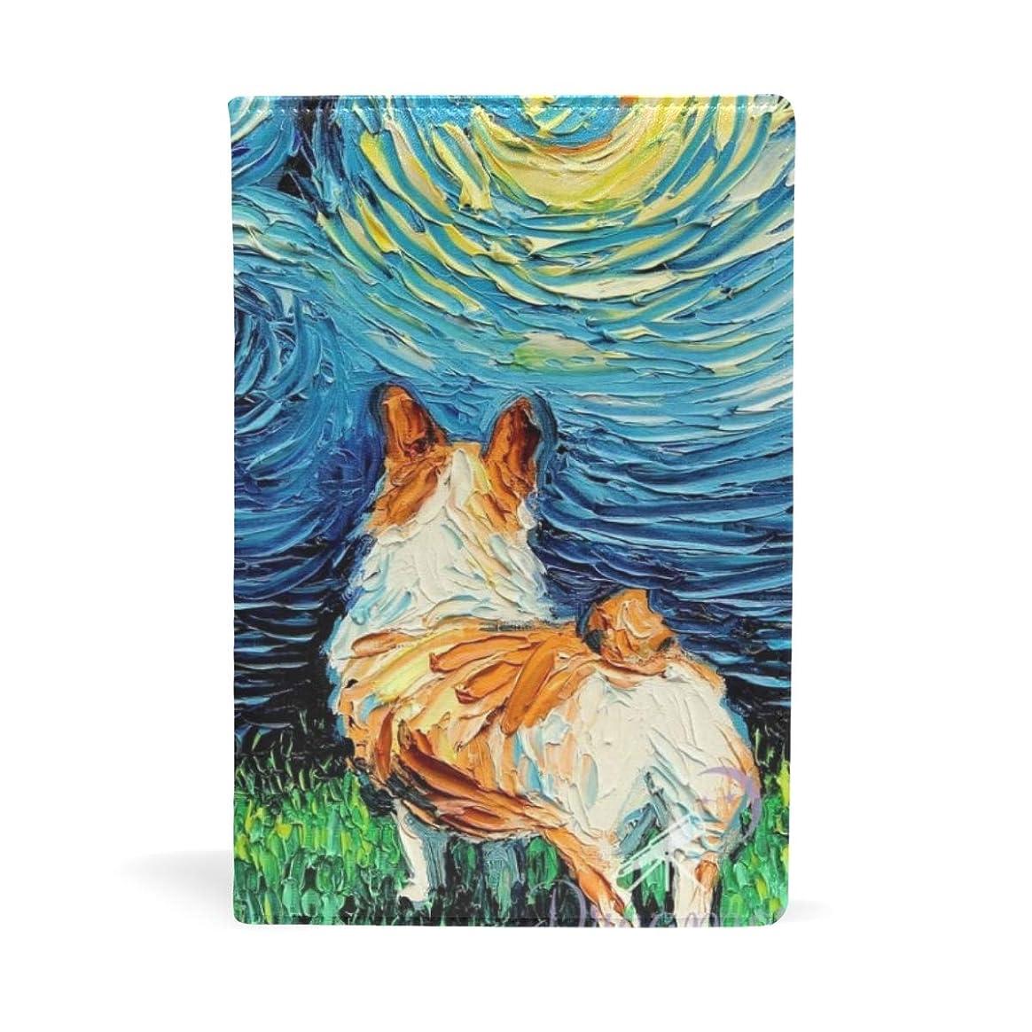 出くわすトン平和なコーギー 星空の夜アート ブックカバー 文庫 a5 皮革 おしゃれ 文庫本カバー 資料 収納入れ オフィス用品 読書 雑貨 プレゼント耐久性に優れ