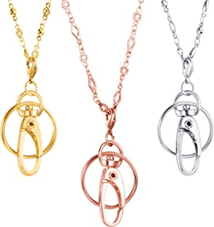 Tatuo 3 Pieces Different Fashion Lanyard Necklace, Women Strong Chain Lanyard for ID Badge Holder and Keys (Silver, Gold, Rose Gold)