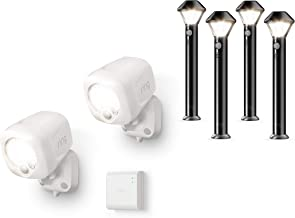 Ring Smart Lighting – Spotlight, Battery-Powered, Outdoor Motion-Sensor Security Light, White (Starter Kit: 2-pack) – Bundle with 4 Pathlights