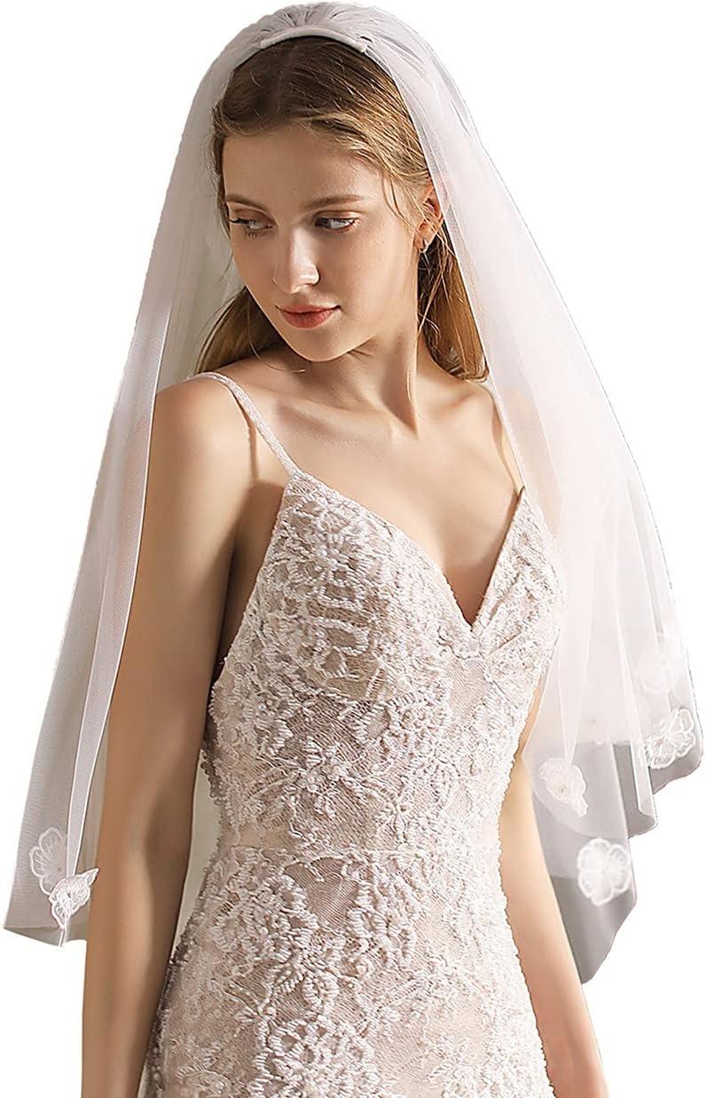 Cheap sale Ranking TOP18 JZJZ Wedding Veil 2 Tier Lace Flower Edge Tull Pearl Bridal