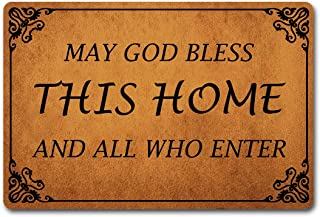 ST MATS Welcome Mat Funny Doormat May God Bless This Home All Who Enter Personalized Outdoor/Indoor Mats Entrance Front Doormat Kitchen Bathroom Non-Slip Rubber Mats and Rugs (23.6 X 15.7 in)