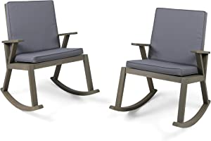Christopher Knight Home 304687 Andy | Outdoor Acacia Wood Rocking Chair with Cushion | Set of 2, Grey Finish/Dark Grey