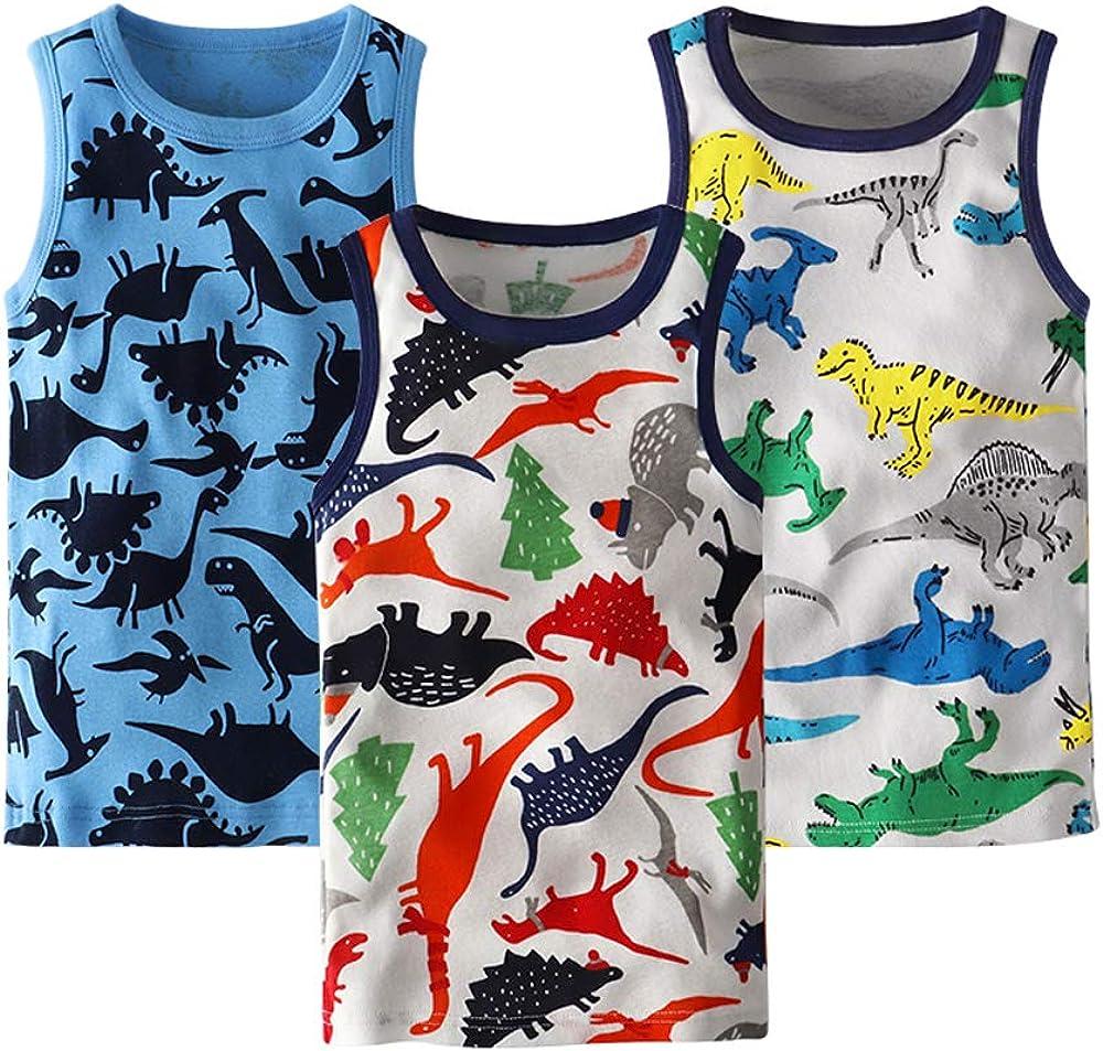 Huaer) Toddler Boys' 2-3 Pack Tank Tops (Dinosaur, 3T)