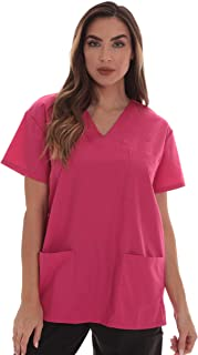 Just Love Solid Scrub Top for Women with Pockets and V-Neck