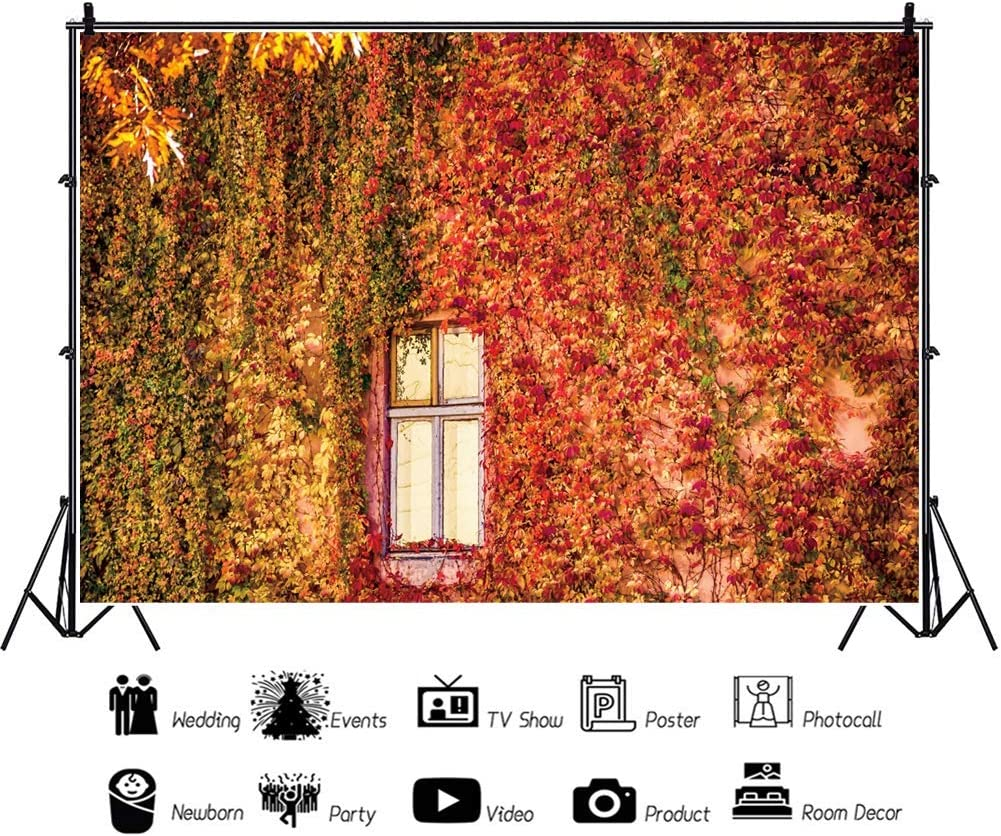 10x6.5ft Outdoor Green Ivy Wall Vinyl Photography Background Lawn Green Vine Wood Floor Wall Wedding Backdrop Party Decoration Banner Photo Studio Prop
