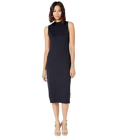 kensie Drapey Wide Rib Dress KS8K8391 (French Navy Combo) Women