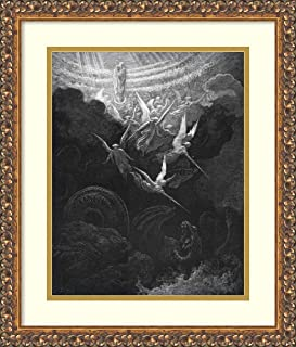 Framed Wall Art Print Archangel Michael and his angels fighting the dragon. Virgin Mary with infant Jesus in arms looks down from Heaven. Revelation 12:1. From Gustave Dore Bible 1865-1866. Wood engra