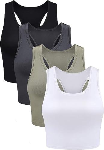 Boao 4 Pieces Basic Crop Tank Tops Sleeveless Racerback Crop Sport Top for Women