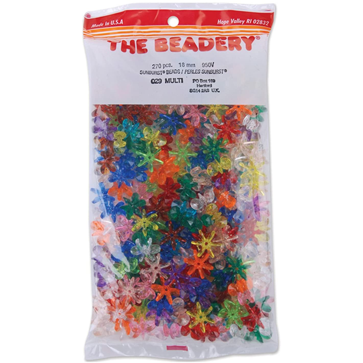 The Beadery 18mm Sunburst Beads, Multi, 270-Piece Per Bag bzmcux221558585