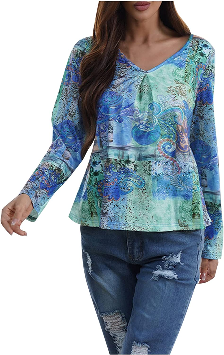 TIMIFIS Womens Shirts for Fall Casual Long Sleeve Blouse Fashion V Neck Pullover Printed Tunic Tops Loose Sweatshirt