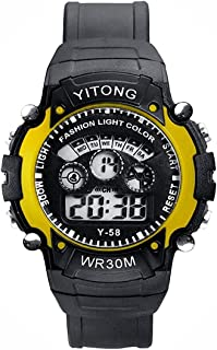 Ms Enterprise Seven Light Plastic Strap Digital Yellow Dial Kid's Watch - ST1332YL