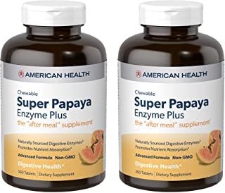 American Health Super Papaya Enzyme Plus Chewable Tablets, Natural Papaya Flavor, 2 Pack - Promotes Digestion & Nutrient A...