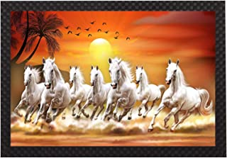 Saumic Craft Seven Running Horses Vastu Sunrise Landscape Animals Scenery UV Coated Framed Painting for Home Decoration an...