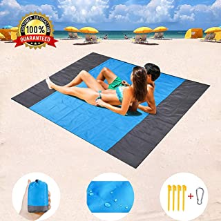 CosyinSofa Sand Free Beach mat, Quick Drying Ripstop Nylon Compact Outdoor Beach Blanket Best Sand Proof Picnic Mat for Travel, Camping, Hiking and Music Festivals (82''×79'') (Blue)