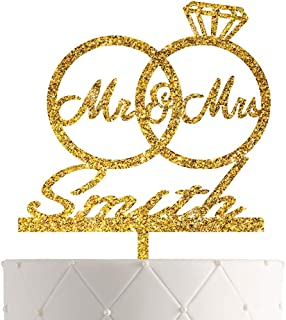 Personalized Bride and Groom Wedding Cake Topper With Customized Last Name for Mr Mrs (Gold Glitter)