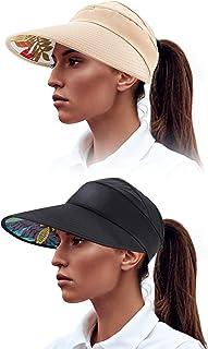 2 Pieces Sun Visor Hats Wide Brim Beach Caps UV Protection Hat for Summer Women Supplies