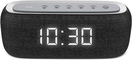 HAVIT Bluetooth Lautsprecher Box mit 10W Dual-Treiber Reinem Bass, 8-12 Stunden Spielzeit, Eingebautes Mikrofon,FM Radio und Digitaler Wecker mit 2 Weckzeiten (Schwarz)