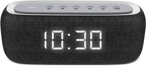 HAVIT Horloge Enceinte Bluetooth, Haut Parleur Basse Pure 10W Dual Drive, 8-12 Heures de Temps de Jeu, Radio FM et Réveil numérique, 2 Heures de Réveil (M29 Noir)
