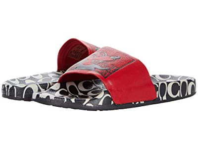 COACH Coach x Mickey Keith Haring Rubber Slide (Red/Black Rubber) Women