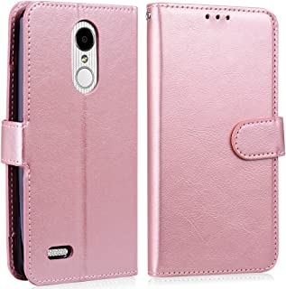 Alkax Wallet Case for LG K30 Case,LG Premier Pro Case,LG K10 2018 Case with Card Slots Holder Stand Wrist Strap Luxury PU Leather Flip Folio Shockproof Protective Cover for LG K30 and Stylus-Rose Gold