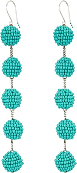 5 Tiered Seed Bead Pom Pom Earrings