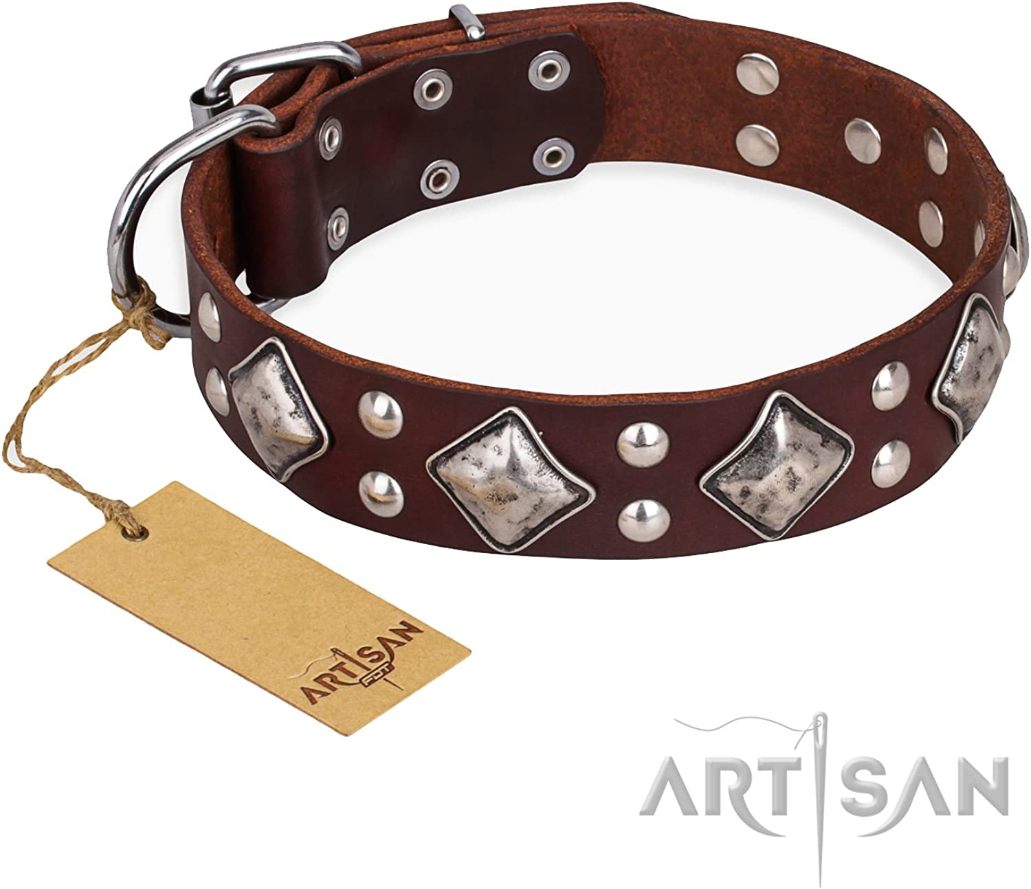 FDT Artisan 34 inch Brown Leather Dog Collar with Fake Silver Decor  Unconventional Allure
