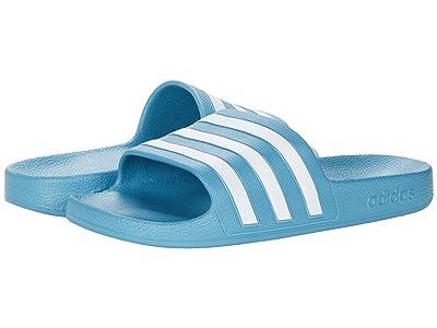 adidas Adilette Aqua Slides (Hazy Blue/White/Hazy Blue) Women