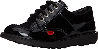 girls black patent kickers