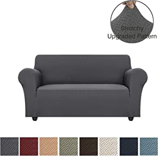 Obytex Stretch Sofa Cover Polyester and Spandex Upgrade Pattern Couch Covers Dog Cat Pet Slipcovers Furniture Protectors,Machine Washable (Grey, Loveseat)