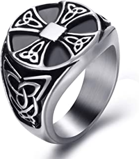 Celtic Rings for Men Solar Cross Symbol Stainless Steel Silver Black Vintage Jewelry Szie 8-13
