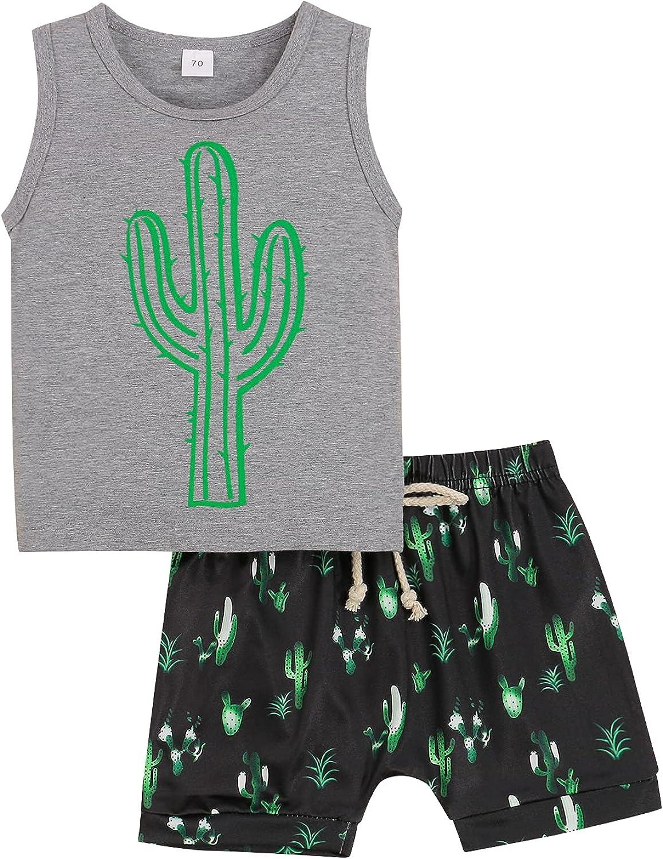 2Pcs Newborn Baby Boys Cactus Print Sleeveless Vest T-Shirt Top+Drawstring Shorts Summer Outfits Set