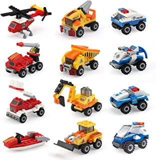 Mini Building Blocks Cars Toys Sets 12 Packs 36 Forms Assembly Mini Cars Toys for Boys Stem Building Car Assorted Construction Truck Fire Trucks Police Cars Party Favor Goodie Bags for Kids
