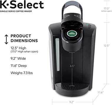 Keurig K-Select Coffee Maker, Single Serve K-Cup Pod Coffee Brewer, With Strength Control and Hot Water On Demand, Matte Blac