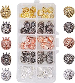 PandaHall Elite 1 Box 60 PCS 5 Color 2 Style Alloy Lion Head Beads Bracelet Necklace Connector Charm Beads for Bracelet Necklace Earrings Jewelry Making Crafts