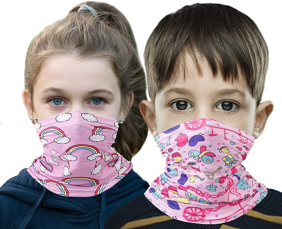 2 Packs Kids Polyester Protective Masks Face/Neck Cover Scarf Sports Outdoor Softness Neck Gaiter For Boys And Girls