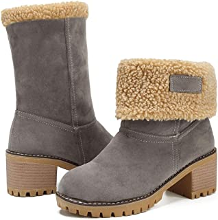 GOUPSKY Women's Winter Snow Boots Warm Suede Chunky Block Heel Round Toe Faux Fur Outdoor Mid-Calf Ankle Boots