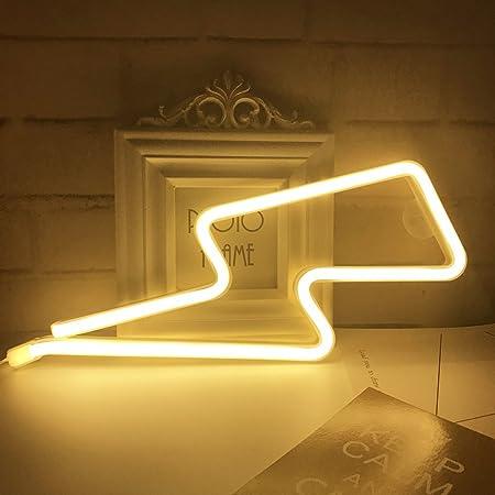 QiaoFei Neonlicht, LED-Leuchtschild in Form eines Blitzzeichens, Wanddekoration für Weihnachten, Geburtstag, Kinderzimmer, Wohnzimmer, Hochzeitsfeier (warmweiß)