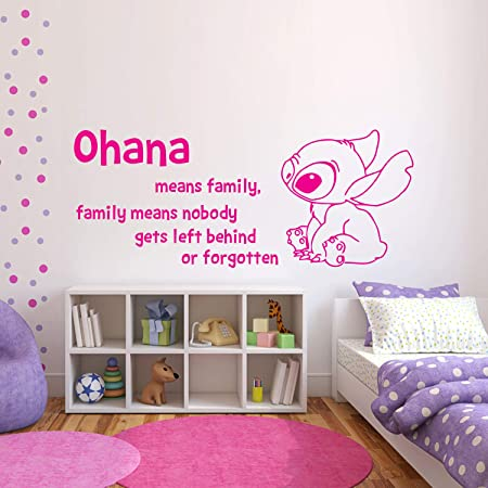 Amazon Com Wall Decals Ohana Means Family Means Nobody Get Left Behind Or Forgotten Lilo And Stitch Wall Decal Vinyl Sticker Wall Decals Nursery Kids Bedroom Made In Usa Home Kitchen
