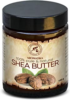 African Shea Butter 100g - Cold Pressed - Butyrospermum Parkii - 100% Pure & Natural - Body Butter for Beauty - Massage - Wellness