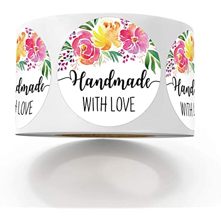 Floral Stickers Personalized for YOU 36 Made With Love Custom Labels 2.5 inch round