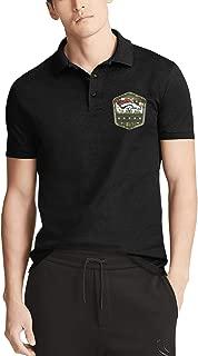 Men's Classic-Fit Polo T-Shirt Short Sleeve Black Cotton T-Shirt for Men