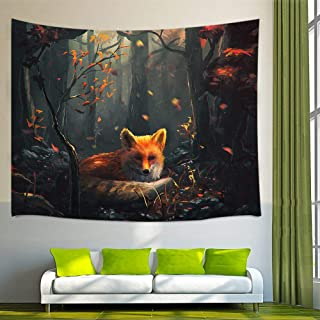 NYMB Painting Animal Lover Fox in The Forest Wall Art Home Decor, Tapestry Wall Hanging..