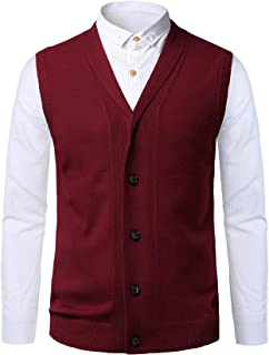 KTWOLEN Men's Shawl Collar Sleeveless Jumpers Knitted Gilets Vest Thick Cardigan Sweater Knitted Tank Top Slipover with Bu...