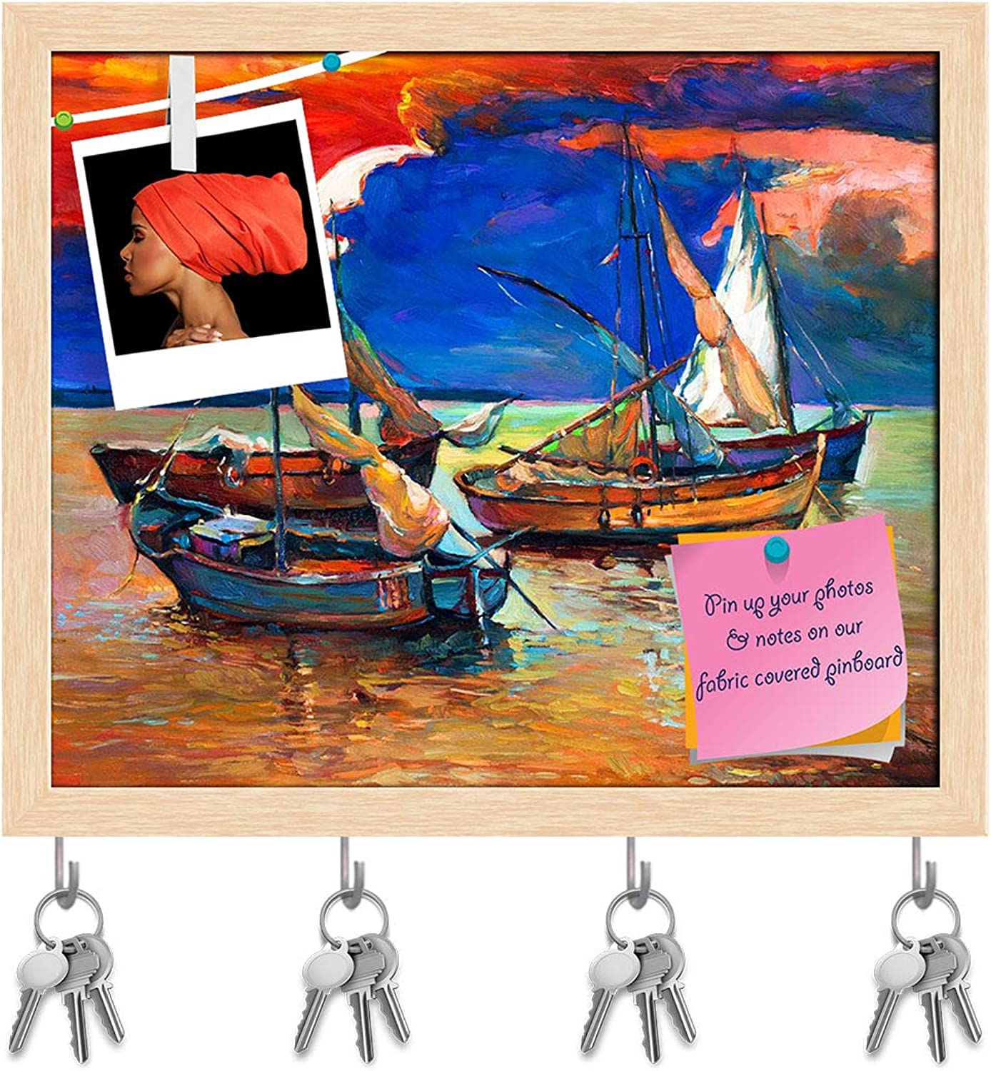 Artzfolio Abstract Artwork of Fishing Boats & Sea D2 Key Holder Hooks   Notice Pin Board   Natural Brown Frame 19.1 X 16Inch