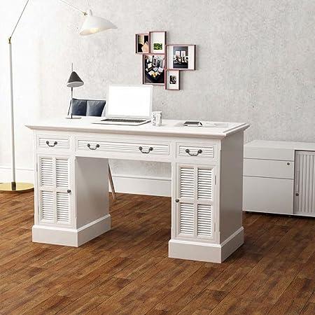 Vidaxl Scrivania A Doppia Colonna Bianca 140x48x80 Cm Tavolo Ufficio Scrittoio Amazon It Casa E Cucina