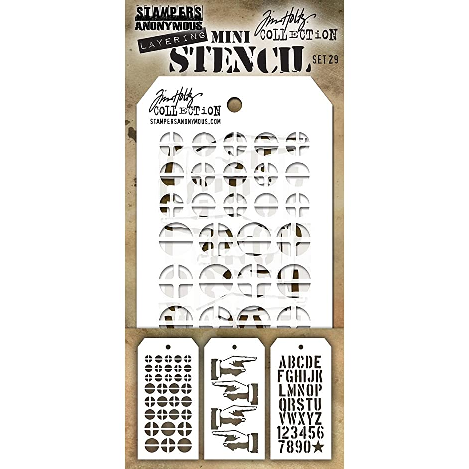 Stampers Anonymous MST029 Tim Holtz Mini Layered Stencil 3/Pkg-Set #29